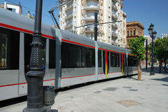 Het tramspoor in Sevilla Royalty-vrije Stock Foto