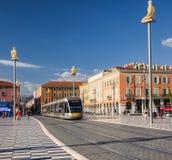 Het tramspoor van Nice op Plaats Massena Stock Fotografie