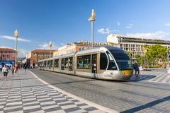 Het tramspoor van Nice op Plaats Massena Stock Foto's