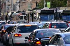 Het tramspoornetwerk van Melbourne Stock Afbeelding