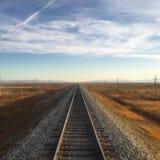 Het trans-Mongoolse Landschap van het Spoorwegspoor Stock Afbeeldingen