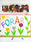 Het trekken: De Deense Lente van woordenforã¥r en mooie bloem Royalty-vrije Stock Afbeeldingen