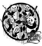 Het trekken door hand Wraak van panda's Beeldverhaal gestileerde karakters Illustratie Stock Foto