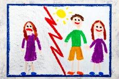 Het trekken: Droevig eenzaam meisje en een gelukkig meisje in een verhouding stock illustratie
