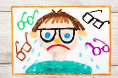het trekken: Droevige en schreeuwende jongen met zijn grassen Tekort van visie stock illustratie