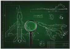 Het trekken en 3d modelvechter op green royalty-vrije illustratie