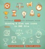 Het trekken en vlakke vastgestelde pictogrammen Stock Afbeelding
