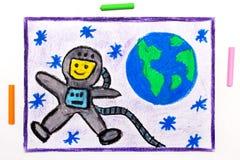 Het trekken: Gelukkige astronaut in spacesuit die naast de aarde vliegen stock illustratie
