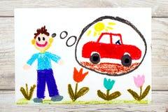 Het trekken: jonge mens die over nieuwe rode auto dromen vector illustratie