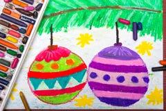Het trekken: Kerstmisballen Stock Afbeelding