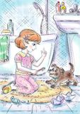 Het trekken in kleur van een klein meisje en haar puppy in pathroom het spelen stock illustratie