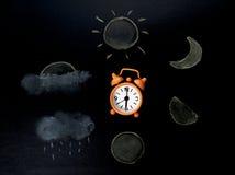 Het trekken lifecyecle van tijd door pastelkleur op blad Stock Fotografie