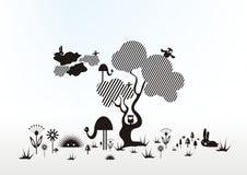 Het trekken in lijnen. dieren en boom Stock Afbeeldingen