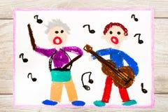 Het trekken: Mensen die en instrumenten zingen spelen royalty-vrije illustratie