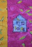 Het trekken met blauw huis Stock Afbeeldingen