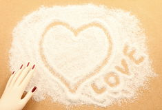Het trekken met wit zand Royalty-vrije Stock Foto