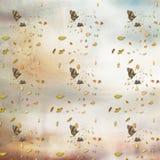 Het trekken op document vlinders en dalende bladeren stock fotografie