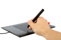 Het trekken op een grafische tablet stock fotografie