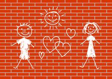 Het trekken op muur Stock Afbeeldingen