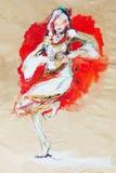 Het trekken op papier van dansend Bulgaars folkloremeisje Royalty-vrije Stock Foto's