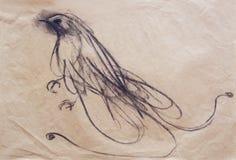 Het trekken op papier van paradijsvogel Stock Afbeelding