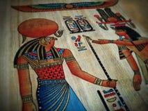 Het trekken op papyrus Stock Foto's