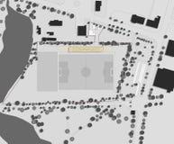 Het trekken: plaatsplan van het voetbalstadion Stock Afbeelding