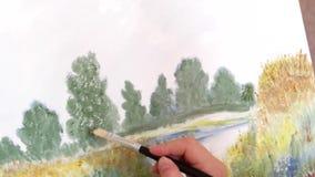 Het trekken schilderend een dikke borstel stock videobeelden