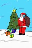 Het Trekken van de kerstman stock illustratie