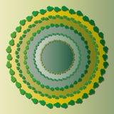 Het trekken van een illustratie met een cirkel van groene bladeren en schaduw, de groene bladeren van Bush en cirkels met decorat royalty-vrije illustratie