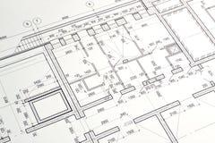 Het trekken van een vloerplan van het gebouw Stock Foto