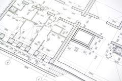 Het trekken van een vloerplan van het gebouw Royalty-vrije Stock Fotografie