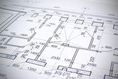 Het trekken van een vloerplan van het gebouw Stock Afbeelding