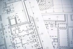 Het trekken van een vloerplan van het gebouw Stock Fotografie