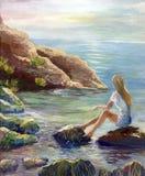 Het trekken van eenzaam meisje onderzoekt de afstand van het overzees en de dromen vector illustratie