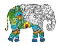Het trekken van gestileerde olifant Schets uit de vrije hand voor volwassen antispannings kleurend boek vector illustratie