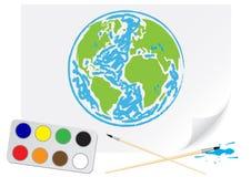 Het trekken van groene Aarde stock illustratie