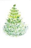 Het trekken van Groene Kerstmisboom Royalty-vrije Stock Foto's