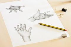 Het Trekken van handen Stock Afbeeldingen