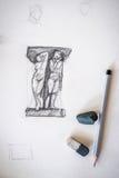Het trekken van het trekken op een wit canvas, een gom en een potlood Horizontaal kader Royalty-vrije Stock Afbeelding