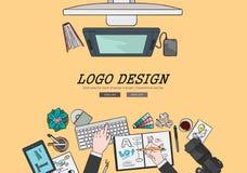 Het trekken van het vlakke concept van het het embleemontwerp van de ontwerpillustratie professionele Concepten voor Webbanners e Stock Fotografie