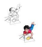 Het trekken van kinderen Stock Foto