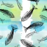 Het trekken van naadloze patroonachtergrond met vissen en waterverfachtergrond, groot patroon Royalty-vrije Stock Fotografie