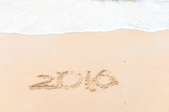 Het trekken van 2016 op het strand Royalty-vrije Stock Fotografie