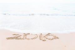 Het trekken van 2016 op het strand Stock Foto