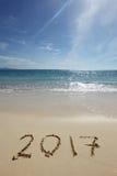 Het trekken van 2017 op het zand Royalty-vrije Stock Afbeelding