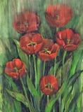 Het trekken van Tot bloei komende Tulpen Document, waterverf Royalty-vrije Stock Afbeeldingen