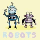 Het trekken van twee vrolijke robotvector Stock Fotografie