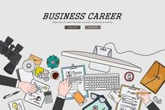 Het trekken van vlak van de bedrijfs ontwerpillustratie carrièreconcept Concepten voor Webbanners en promotiematerialen Stock Fotografie