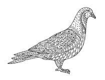 Het trekken van zentangle duif, voor het kleuren van boek voor volwassene of andere decoratie stock illustratie